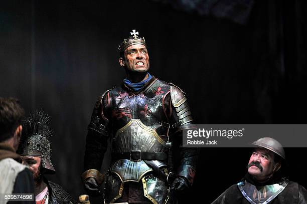 Alex Hassell as Henry V with artists of the company in the Royal Shakespeare Company's production of William Shakespeare's Henry V directed by...