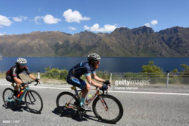 Alex Heaney of Cambridge Powernet heads towards Frankton during stage 3 from Mossburn to Coronet Peak during the 2017 Tour of Southland on November 1...