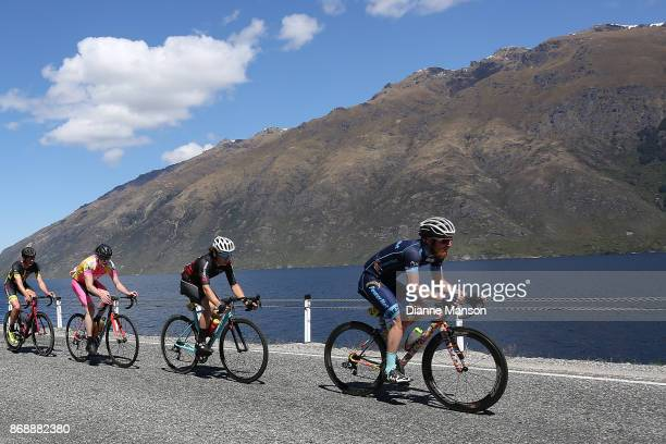 Alex Heaney of Cambridge Powernet leads out front around the Devils Staircase towards Frankton during stage 3 from Mossburn to Coronet Peak during...