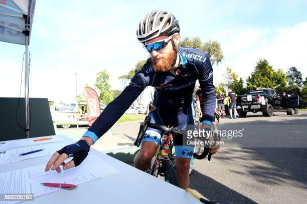 Alex Heaney of Cambridge Powernet signs in during stage 4 of the 2017 Tour of Southland on November 2 2017 in Invercargill New Zealand