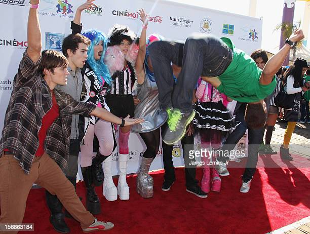 Alex Heartman Max Schneider Ajuku Girls and Hector David attends the Children Uniting Nations' Day of The Child Fundraiser held at the Santa Monica...