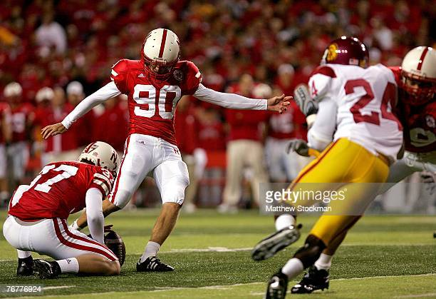 Alex Henry of the Nebraska Cornhuskers kicks a field goal against the USC Trojans on September 15 2007 at Memorial Stadium in Lincoln Nebraska