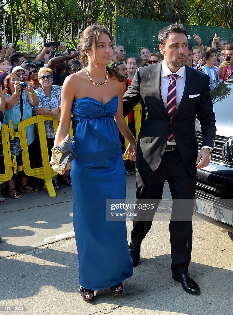 Alex Hernandez and guest arrive to the wedding of Xavi Hernandez and Nuria Cunillera at the Marimurtra Botanical Gardens on July 13, 2013 in Barcelona, Spain.
