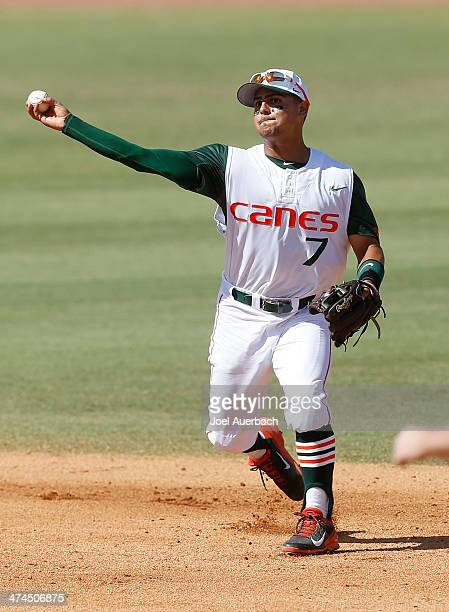 Alex Hernandez of the Miami Hurricanes throws out Peter Alonso of the Florida Gators for the final out of the fourth inning on February 23 2014 at...