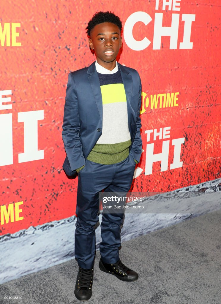 Alex Hibbert attends the premiere of Showtime's 'The Chi' on January 03, 2018 in Los Angeles, California.