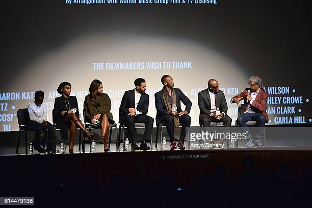 Alex Hibbert Janelle Monae Naomie Harris Andre Holland Mahershala Ali Barry Jenkins and Elvis Mitchell attend the Film Independent at LACMA screening...