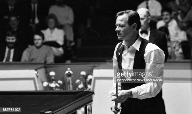 Alex Higgins and Dennis Taylor at the Benson Hedges quarter final of the Irish masters March 30 1990