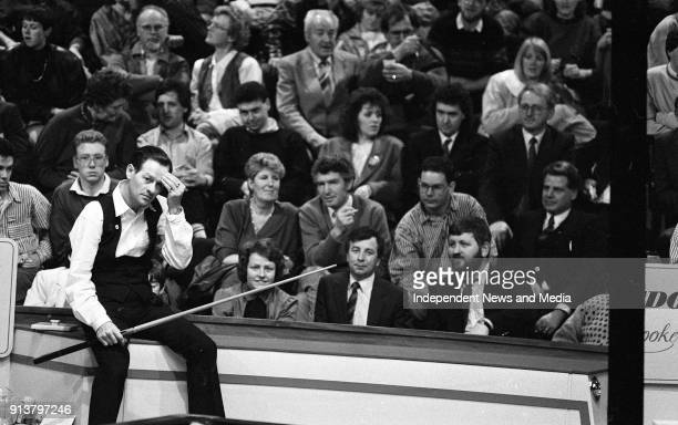 Alex Higgins and Dennis Taylor at the Benson Hedges quarter final of the Irish masters