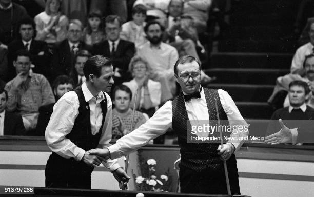 Alex Higgins and Dennis Taylor at the Benson & Hedges quarter final of the Irish masters, .