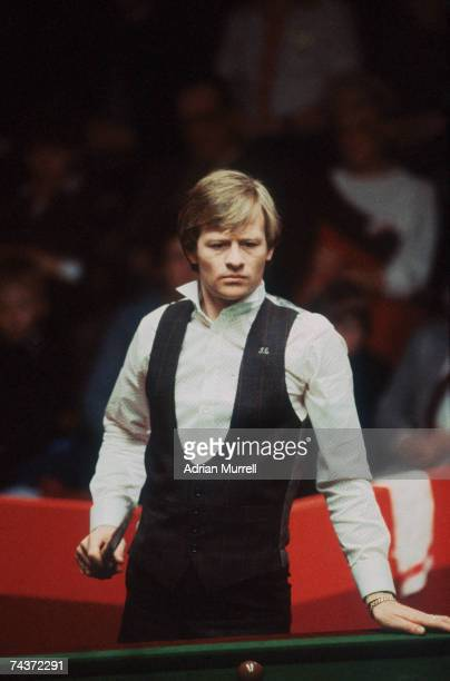 Alex Higgins considering his next shot during the 1983 World Snooker Championships in Sheffield