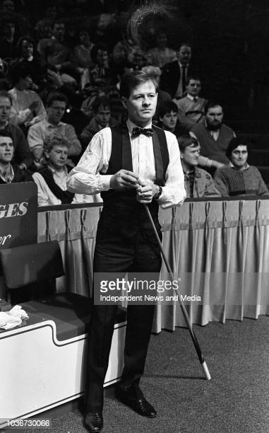 Alex Higgins during the match against Dennis Taylor in the Benson and Hedges Irish Masters Snooker Tournament