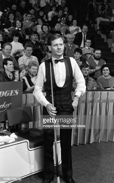 Alex Higgins during the match against Dennis Taylor in the Benson and Hedges Irish Masters Snooker Tournament, . .