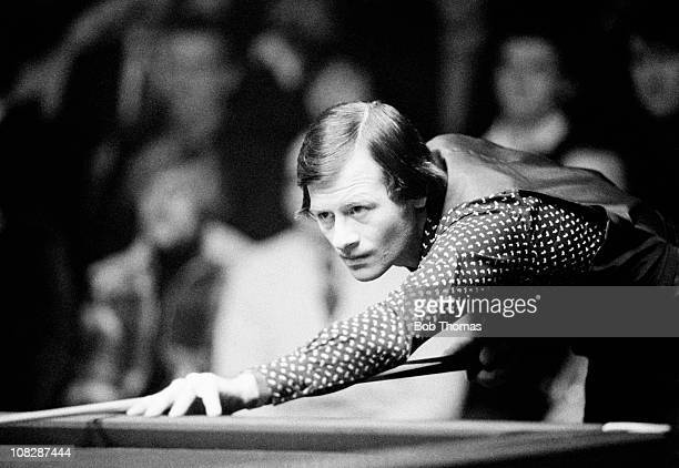 Alex Higgins playing in a snooker tournament at Derby December 1980
