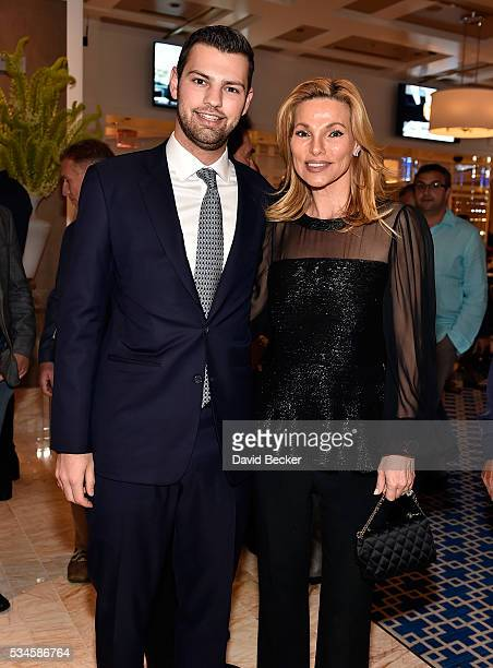 Alex Hissom and his mother Andrea Wynn attend the grand opening of the Wynn Las Vegas Poker Room at Wynn Las Vegas on May 26 2016 in Las Vegas Nevada