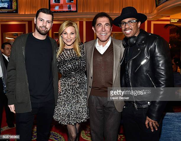 Alex Hissom Andrea Wynn Wynn Resorts Chairman and CEO Steve Wynn and actor Nick Cannon attend the Encore Player's Club grand opening celebration at...