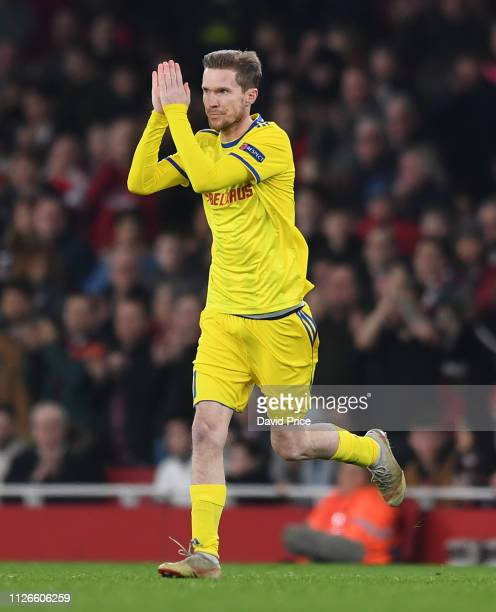 Alex Hleb of BATE claps the fans as he comes on during the UEFA Europa League Round of 32 Second Leg match between Arsenal and BATE Borisov at...