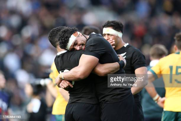 Alex Hodgman and Richie Mo'unga of the All Blacks celebrate after winning the Bledisloe Cup match between the New Zealand All Blacks and the...