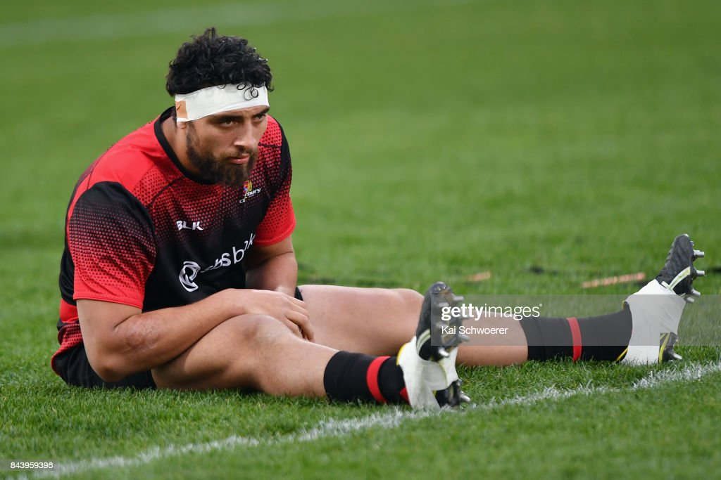 Alex Hodgman of Canterbury warms up prior to the Ranfurly Shield round four Mitre 10 Cup match between Canterbury and Southland on September 8, 2017 in Christchurch, New Zealand.