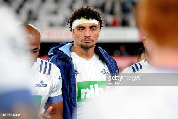 Alex Hodgman of the Blues looks on following the round eight Super Rugby Aotearoa match between the Highlanders and the Blues at Forsyth Barr...