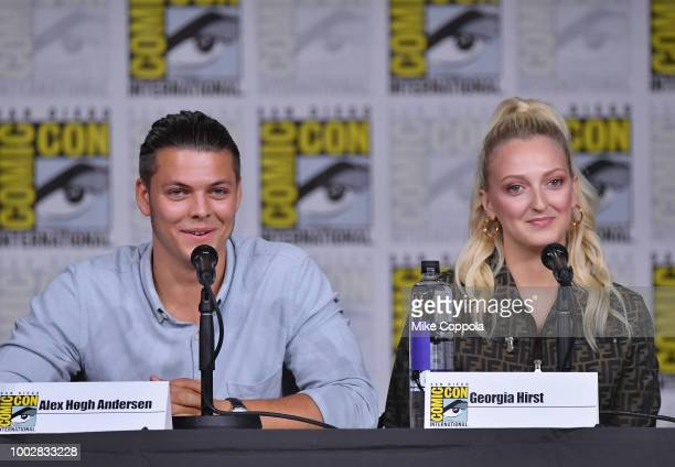 Alex Hogh Andersen and Georgia Hirst speak onstage at History's Vikings panel during ComicCon International 2018 at San Diego Convention Center on...