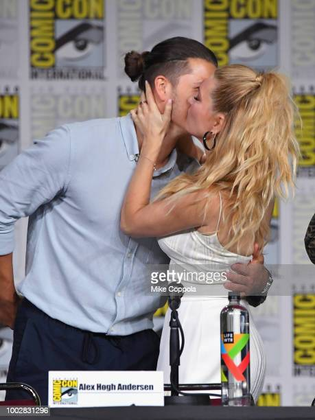 Alex Hogh Andersen and Katheryn Winnick speak onstage at History's 'Vikings' panel during ComicCon International 2018 at San Diego Convention Center...