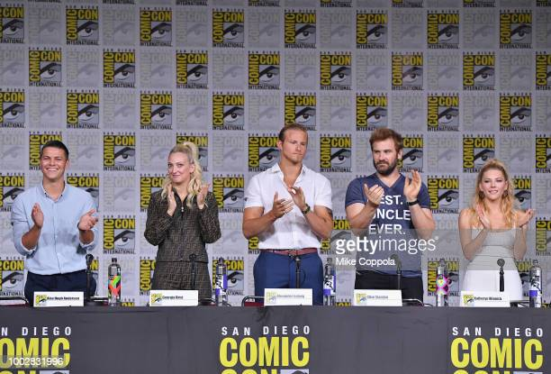 Alex Hogh Andersen Georgia Hirst Alexander Ludwig Clive Standen and Katheryn Winnick speak onstage at History's Vikings panel during ComicCon...