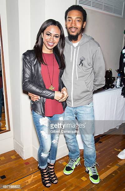 Alex Holley Fox 29 Good Day Philadelphia CoHost and Musical artist Chill Moody pose during Mitchell Ness Flagship Store 5th Anniversary at Mitchell...