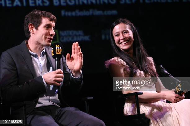Alex Honnold and Elizabeth Chai Vasarhelyi speak onstage at the LA Film Festival gala screening of National Geographic Documentary Films Free Solo at...
