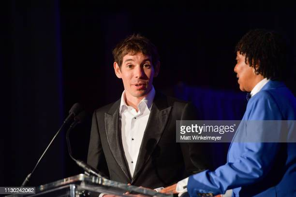 Alex Honnold and Jesse Dodd attends the 55th Annual Cinema Audio Society Awards at InterContinental Los Angeles Downtown on February 16 2019 in Los...