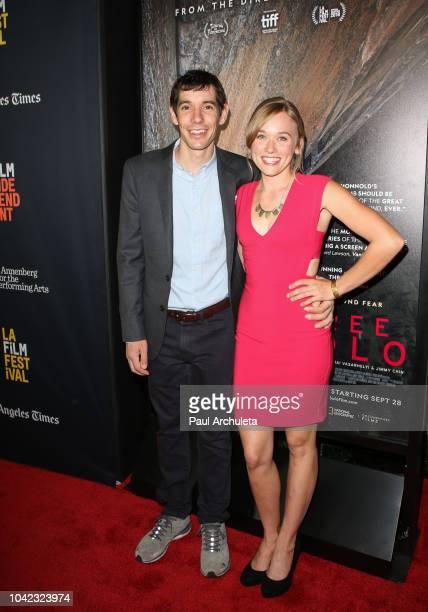 Alex Honnold and Sanni McCandless attend the screening of 'Free Solo' at the 2018 LA Film Festival at the Wallis Annenberg Center for the Performing...