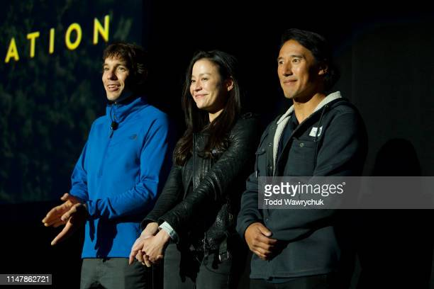 Alex Honnold, Chai Vasarhelyi and Jimmy Chin attend National Geographics Contenders Showcase, at The Greek Theatre, a one-of-a-kind outdoor...