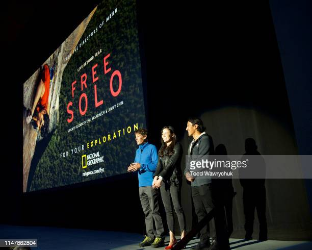 Alex Honnold Chai Vasarhelyi and Jimmy Chin attend National Geographics Contenders Showcase at The Greek Theatre a oneofakind outdoor experience and...