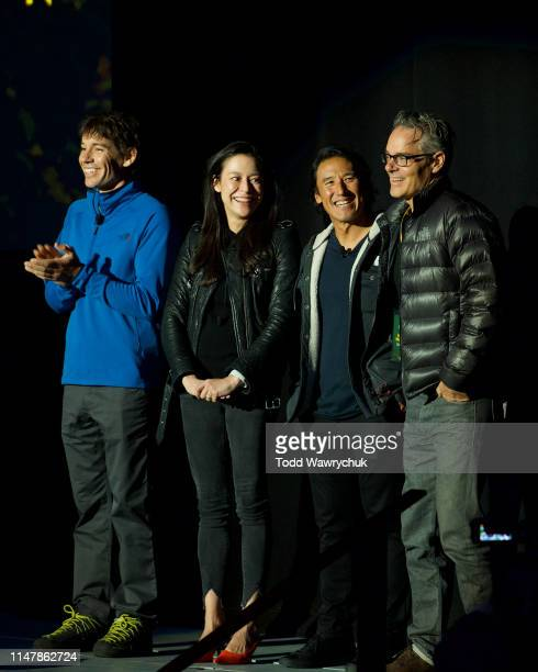 Alex Honnold Chai Vasarhelyi Jimmy Chin and Marco Beltrami attend National Geographics Contenders Showcase at The Greek Theatre a oneofakind outdoor...
