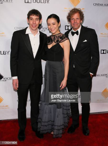 Alex Honnold Elizabeth Chai Vasarhelyi and Jim Hurst attend the 55th Annual Cinema Audio Society Awards held at InterContinental Los Angeles Downtown...