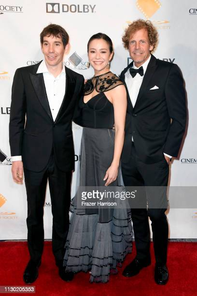 Alex Honnold Elizabeth Chai Vasarhelyi and Jim Hurst attend the 55th Annual Cinema Audio Society Awards at InterContinental Los Angeles Downtown on...