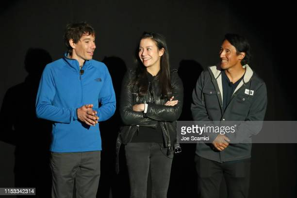 Alex Honnold Elizabeth Chai Vasarhelyi and Jimmy Chin speak onstage during National Geographic's Contenders Showcase at The Greek Theatre a...
