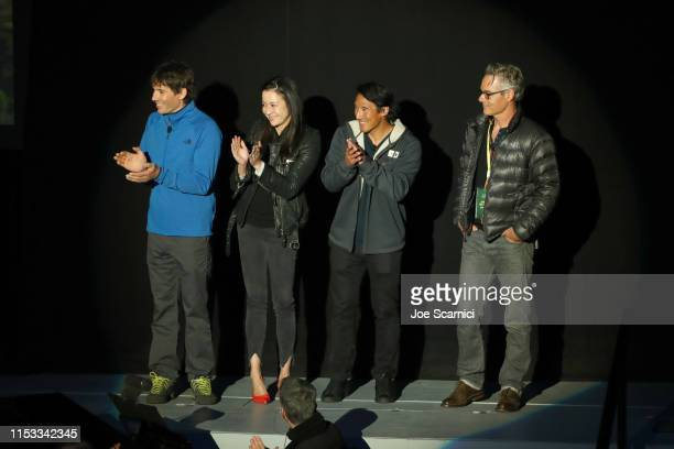 Alex Honnold Elizabeth Chai Vasarhelyi Jimmy Chin and Marco Beltrami speak onstage during National Geographic's Contenders Showcase at The Greek...