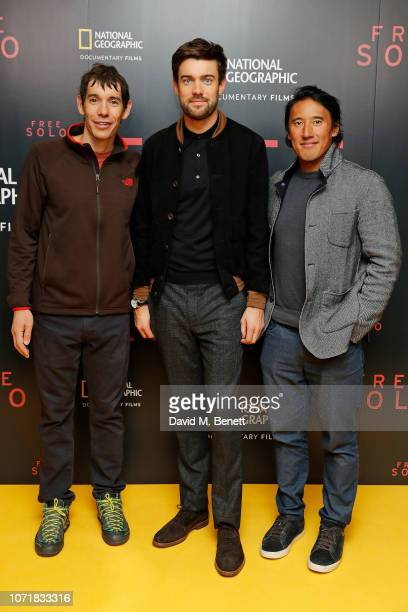 Alex Honnold Jack Whitehall and Jimmy Chan attends= the National Geographic Documentary Films London Premiere of Free Solo at BFI Southbank on...