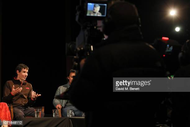 Alex Honnold on stage during National Geographic Documentary Films London Premiere of Free Solo QA at BFI Southbank on December 11 2018 in London...