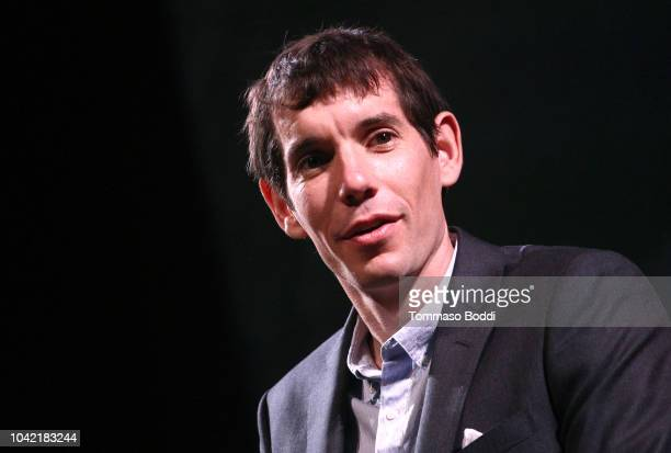 Alex Honnold speaks onstage during the LA Film Festival gala screening of National Geographic Documentary Films Free Solo at the Wallis Annenberg...
