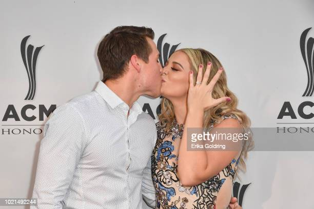 Alex Hopkins and fiancé Lauren Alaina attend the 12th Annual ACM Honors at Ryman Auditorium on August 22 2018 in Nashville Tennessee