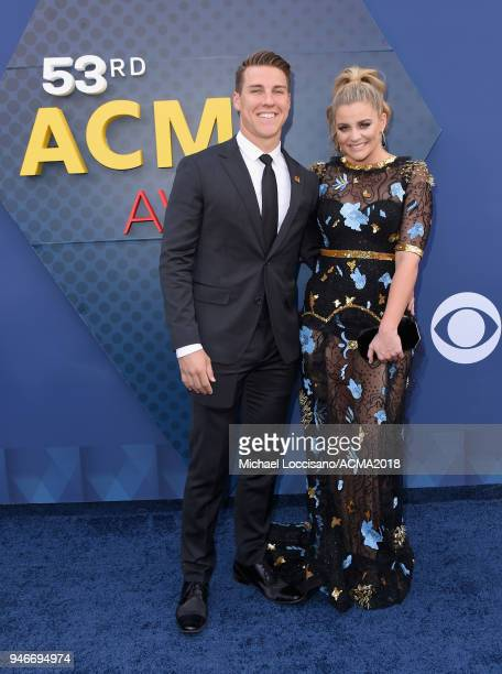 Alex Hopkins and Lauren Alaina attends the 53rd Academy of Country Music Awards at MGM Grand Garden Arena on April 15 2018 in Las Vegas Nevada