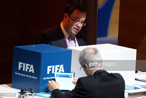 Alex Horne of the FA in the voting booth during the 61st FIFA Congress at Hallenstadion on June 1 2011 in Zurich Switzerland