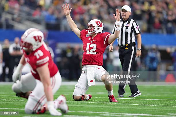 Alex Hornibrook of the Wisconsin Badgers celebrates after a touchdown in the fourth quarter during the 81st Goodyear Cotton Bowl Classic between...