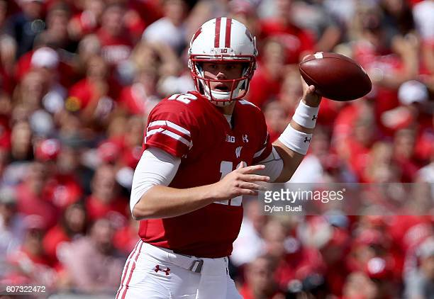 Alex Hornibrook of the Wisconsin Badgers drops back to pass in the fourth quarter against the Georgia State Panthers at Camp Randall Stadium on...