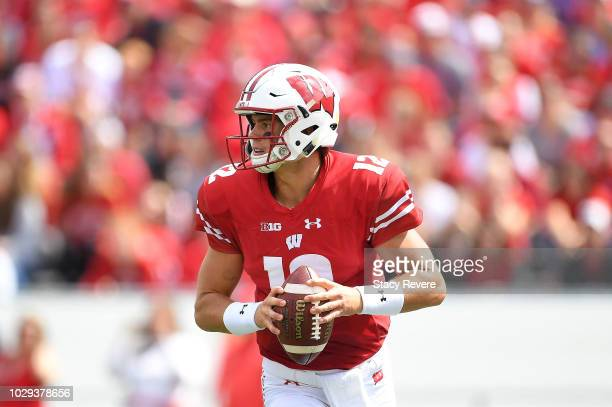 Alex Hornibrook of the Wisconsin Badgers looks to pass during the second half of a game against the New Mexico Lobos at Camp Randall Stadium on...