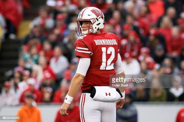 Alex Hornibrook of the Wisconsin Badgers looks to the sideline in the second quarter against the Purdue Boilermakers at Camp Randall Stadium on...