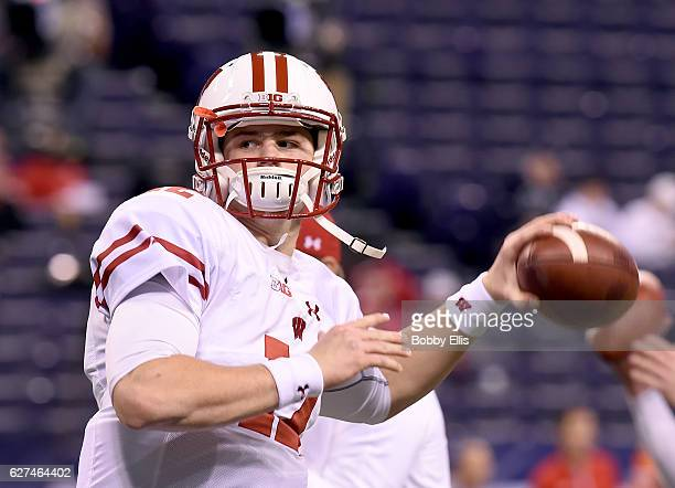 Alex Hornibrook of the Wisconsin Badgers passes the ball during warmups before the start of the Big Ten Championship against the Penn State Nittany...