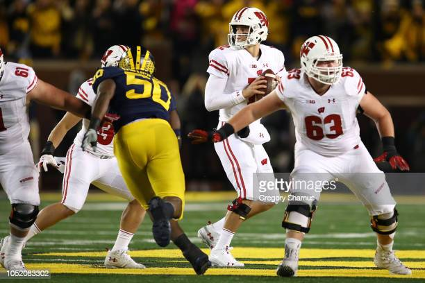 Alex Hornibrook of the Wisconsin Badgers throws a first half pass while playing the Michigan Wolverines on October 13 2018 at Michigan Stadium in Ann...