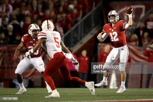 Alex Hornibrook of the Wisconsin Badgers throws a pass in the second quarter against the Nebraska Cornhuskers at Camp Randall Stadium on October 6...
